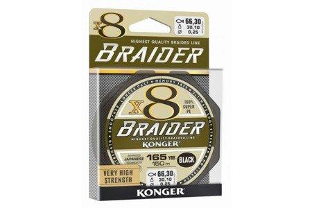 Plecionka Konger Braider X8 Black 0,18 / 150